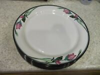 "2 Lenox Chinastone Midnight Blossoms Dinner Plates 10 3/4"" Pink Flower Black Tri"