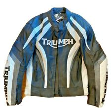 Triumph Mens Large Black White Leather Motorcycle Jacket Armored With Liner