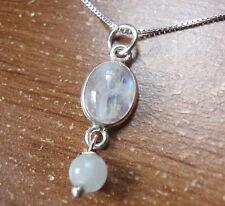 Very Tiny Moonstone 925 Sterling Silver Pendant Corona Sun Jewelry