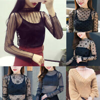 Women Mesh Sheer Long Sleeve Blouses T-Shirt Ladies Party Tops Fashion Tee New