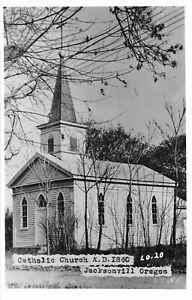 H48/ Jacksonville Oregon RPPC Postcard c50s Catholic Church Building