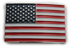 Men Women Belt Buckle Metal Silver United State America USA Flag Army Red Blue