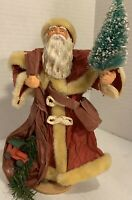 Vintage Paper Mache Santa In Red With Tree & Train