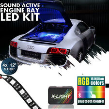Blue tooth Control LED Engine Bay Multicolor Strip Light Kit Music Active RGB