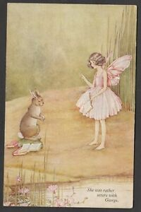 Postcard Artist signed I R Outhwaite fairy She was severe with George rabbit