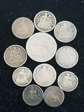 Lot of 11 Us Seated Liberty Quarter, Dimes, Half Dimes Silver Coins