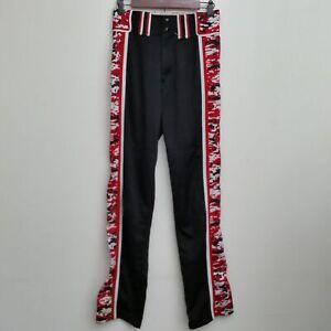 Boombah Mens Baseball Pants Red Black Stripe Geometric