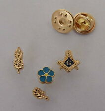 One Set of 4 PCS Mini Masonic Lapel Pins Badge Mason Freemason B29 FORGET ME NOT
