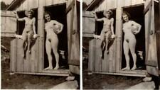 French stereo photo - 1940s nudism female couple