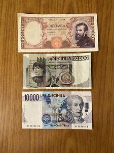 LOTTO 3 BANCONOTE: LIRE 10000 VOLTA LIRE 10000 MICHELANGELO 10000 CASTAGNO