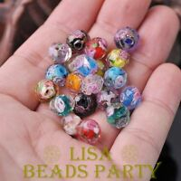 50pcs 10mm Flowers Faceted Rondelle Lampwork Glass Loose Spacer Beads Mixed Hot
