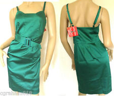 From Look Emerald Green Satin Strappy Dress Size 10 (r18)
