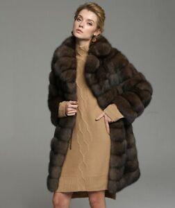 Sable Fur Coat With Notched Collar Zibeline Sobol  Barguzinsky