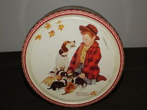 """VINTAGE 7 1/2"""" ACROSS 1985 NORMAN ROCKWELL BOY DOG BISCUIT TIN CAN *EMPTY*"""