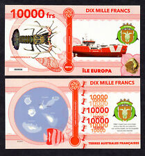 RARE ★ ILE EUROPA ● TAAF / COLONIE ● BILLET POLYMER 10000 FRANCS ★N.SERIE 000008