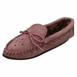 Ladies Moccasin Casual Slip-On Slippers 'Real Suede'