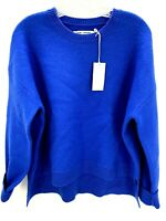 Tory Sport Tory Burch Women's Blue Asymmetric Merino Wool Pullover Sweater Large