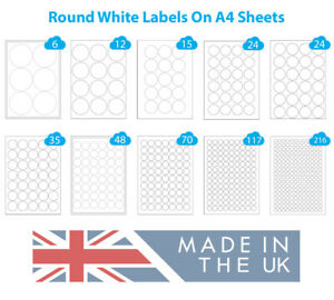 500 A4 Sheets Round Sticky Labels White Paper Circle Stickers, Laser & Inkjet