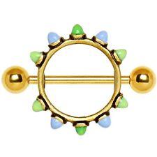 """BLUE/GREEN ENAMEL 10-CONE NIPPLE PIERCING SHIELD BARBELLS RINGS 14g 3/4"""" (Pair)"""