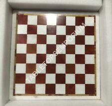 "18"" White Marble Chess Coffee Table Top Handmade Inlay Furniture Decor Art E1451"