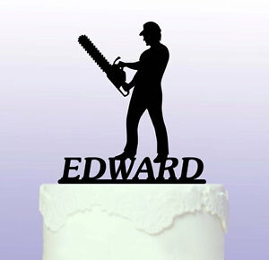 Personalised Chainsaw Acrylic Cake Topper