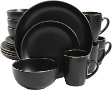 Dinnerware Set 16 Piece Stoneware Serving Dishes Black Gold Stylish Durable. Fre