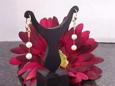 333 Gelbgold Ohrhänger Brisuren Einhänger Ohrringe Süßwasser Perlen weiße Damen