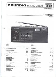 Grundig Original Service Manual für Cosmopolit