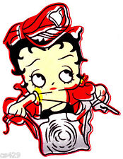 "7.5"" Betty boop biker babe on bike motorcycle fabric applique iron on character"