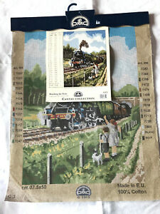 """New Large Tapestry Canvas WATCHING THE TRAIN  - DMC C3 Flying Scotsman 15""""x20"""""""
