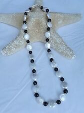 """NEW FRESHWATER WHITE COIN PEARL AND 6MM BLACK ONYX BEAD NECKLACE 18.5"""""""