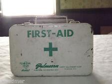 VINTAGE PULMOSAN SAFETY EQUIPMENT FLUSHING NY METAL FIRST-AID KIT BOX