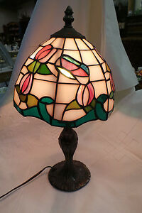 VINTAGE  PINK TIFFANY STYLE STAINED GLASS LAMP WITH METAL BASE