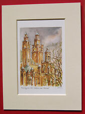 KELVINGROVE ART GALLERY AND MUSEUM GLASGOW CHARMING MOUNTED WATER COLOUR PRINT