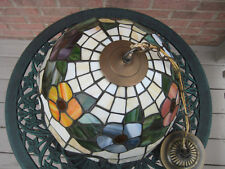 Light Fixture Single Light Pendant Tiffany Mosaic Glass Style Multy Color Vtg
