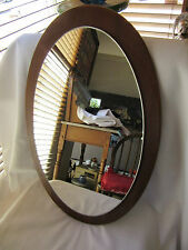 Vintage Oval Mirror Antique Wood Glass Decorative Arts Home Decor Wall Hang in