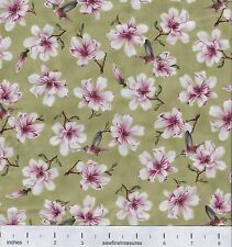 Gone With the Wind MAGNOLIA Hummingbirds GREEN Flower Floral Fabric By FQ 1/4 YD
