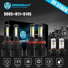 H11 9005 LED Headlight Hi/Lo + 9145 Fog Light For 2011-2017 Ram 1500 2500 3500