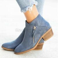 Women Autumn Mid Block Heel Side Zip Up Ankle Boots Ladies Booties Casual Shoes