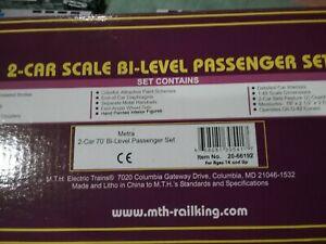 MTH 20-66192 METRA 2-CAR 70' BI-LEVEL PASSENGER SET, NOB