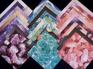 12X12 Scrapbook Paper Cardstock American Crafts Marble Rocks Crystal Stones 24