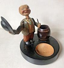 Vintage German Black Forest Carved Mechanical Man Ashtray Pipe Matches Holder