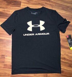 NWT Under Armour Surf UPF 50+ Boy's Large Big Logo Black Short Sleeve T-shirt