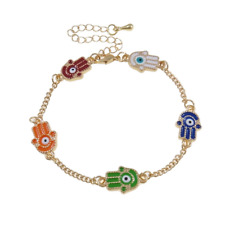 Dainty Gold Tone Colourful Enamel Hamsa Hand Bracelet Hand of Miriam