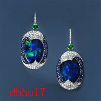 Exquisite Blue Opal Sapphire Women 925 Silver Ear Hook Dangle Drop Earrings Gift