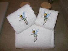 Tinker Bell 3 Piece Embroidered Bath Towel Set - Personalized