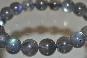 "7.8"" ""Color Play/AAAA""~Madagascar Blue Fire LABRADOR SPECTROLITE Bracelet H1337"