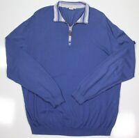 ERMENEGILDO ZEGNA Recent Light Blue 1/4 Zip Lightweight Cotton Pullover 44/XL