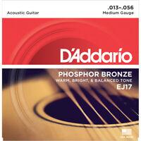 3 Sets D'Addario EJ17 Phosphor Bronze Medium Acoustic Guitar Strings 13-56
