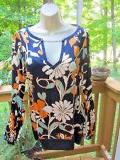 ARDEN B Silk w/Spandex BOHO MOD Groovy Flowers Floral Mini Dress w/Chain Size M